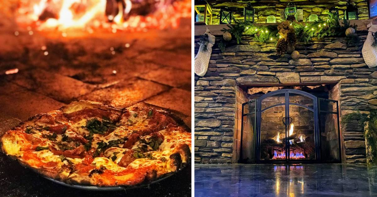 split image with pizza on the left and fire in fireplace on the right