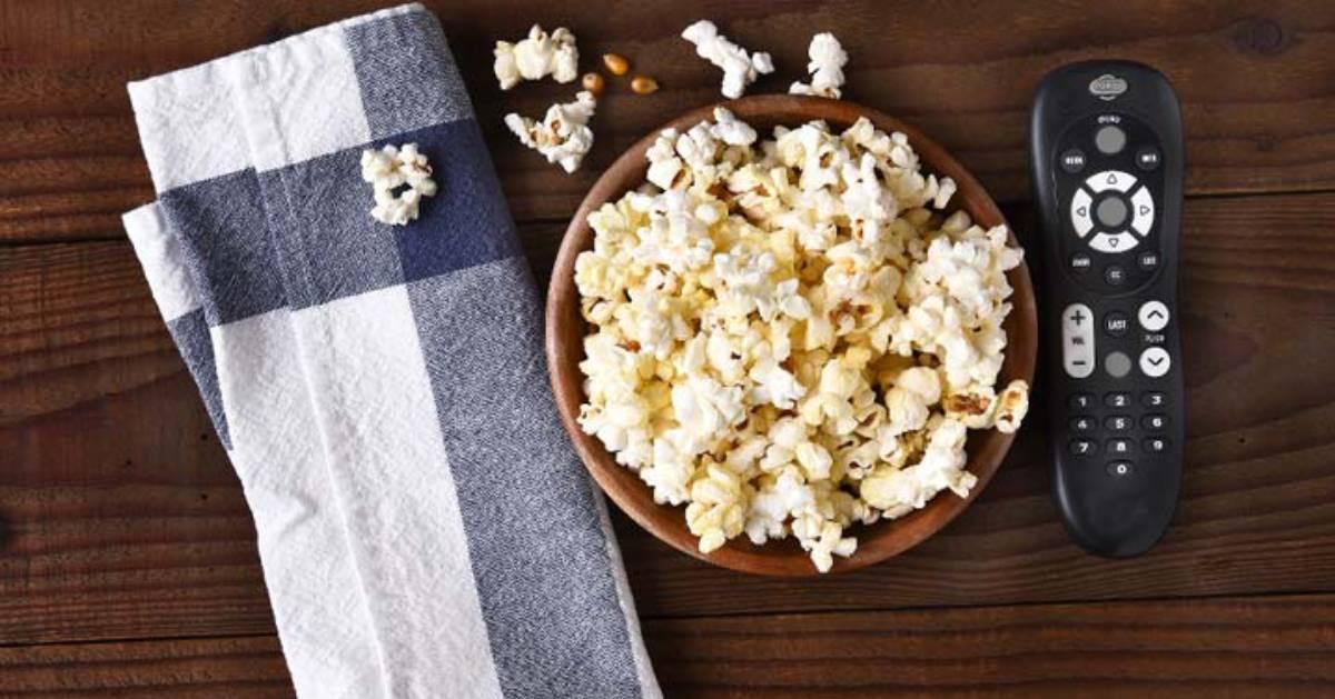 popcorn and a remote control