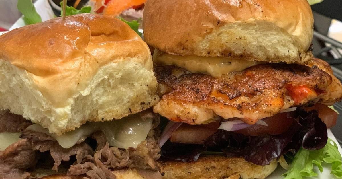 pork and chicken burgers