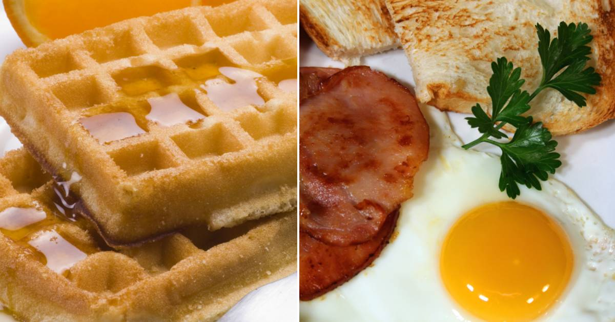 image of waffles and an image of eggs and toast