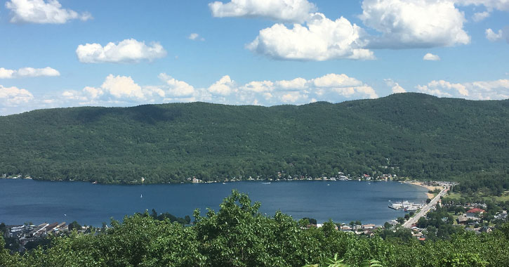 view of lake george village from prospect mountain lookout