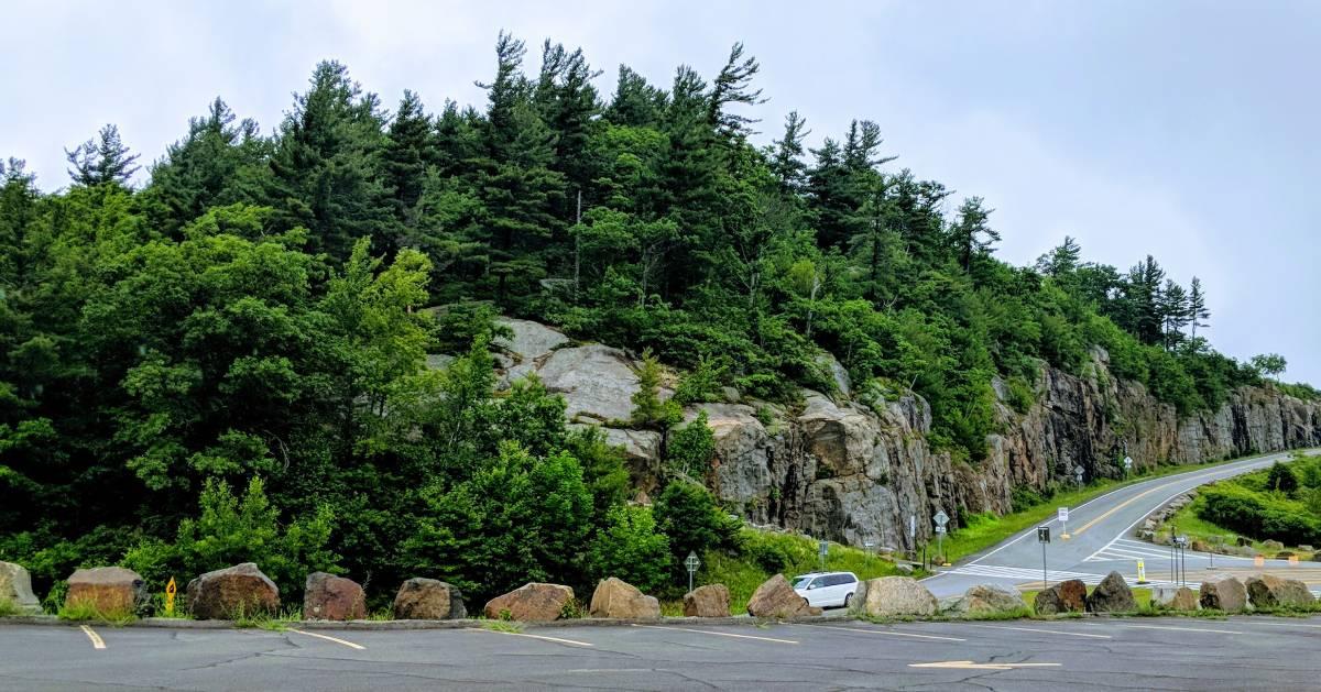 mountain, trees, road