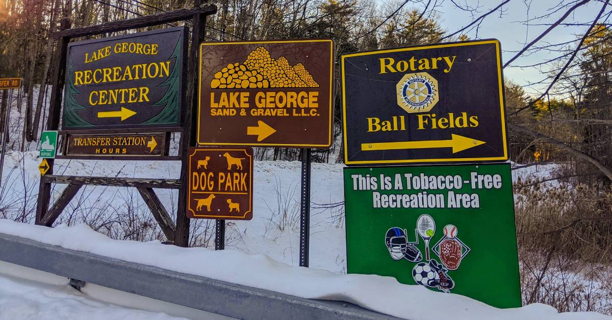 signs near rec center on road