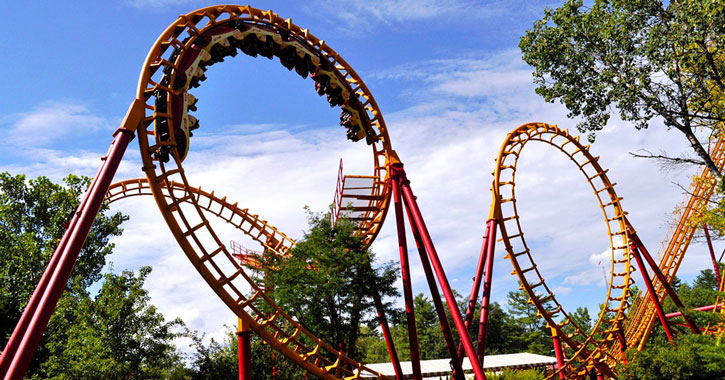 red and yellow roller coaster