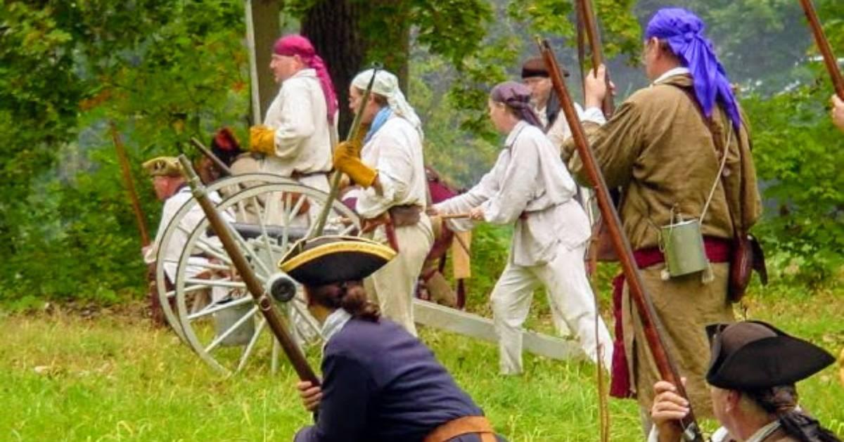 reenactors on a field