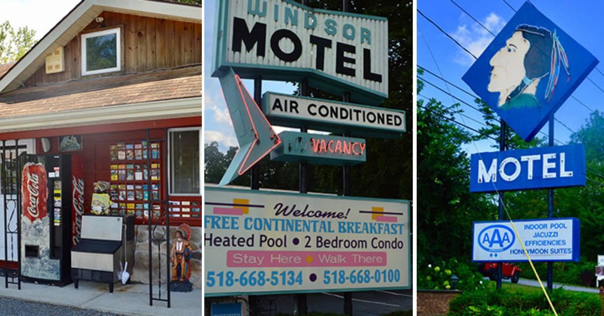 image split in three of retro motels