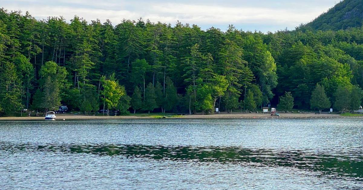 view of beach and campground from the water