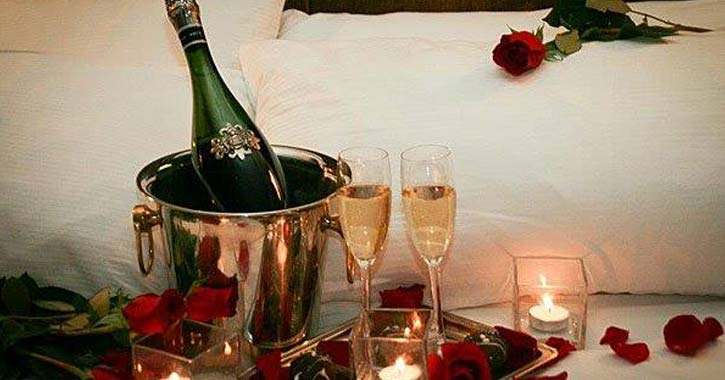 chilled champagne with classes and roses