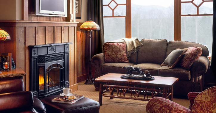 sitting area with a fireplace at whiteface lodge
