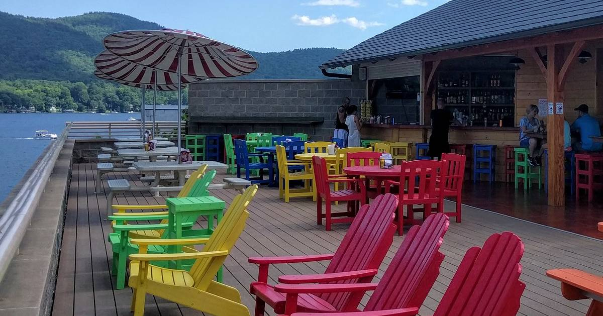 rooftop bar with colorful chairs