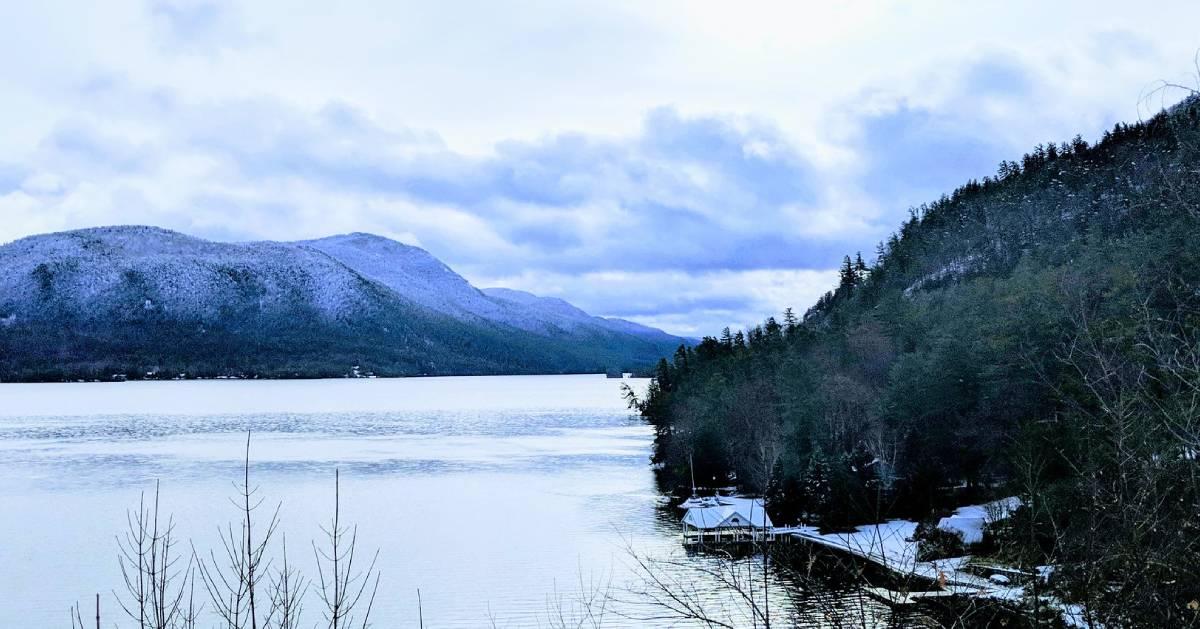 mountain and lake winter scene