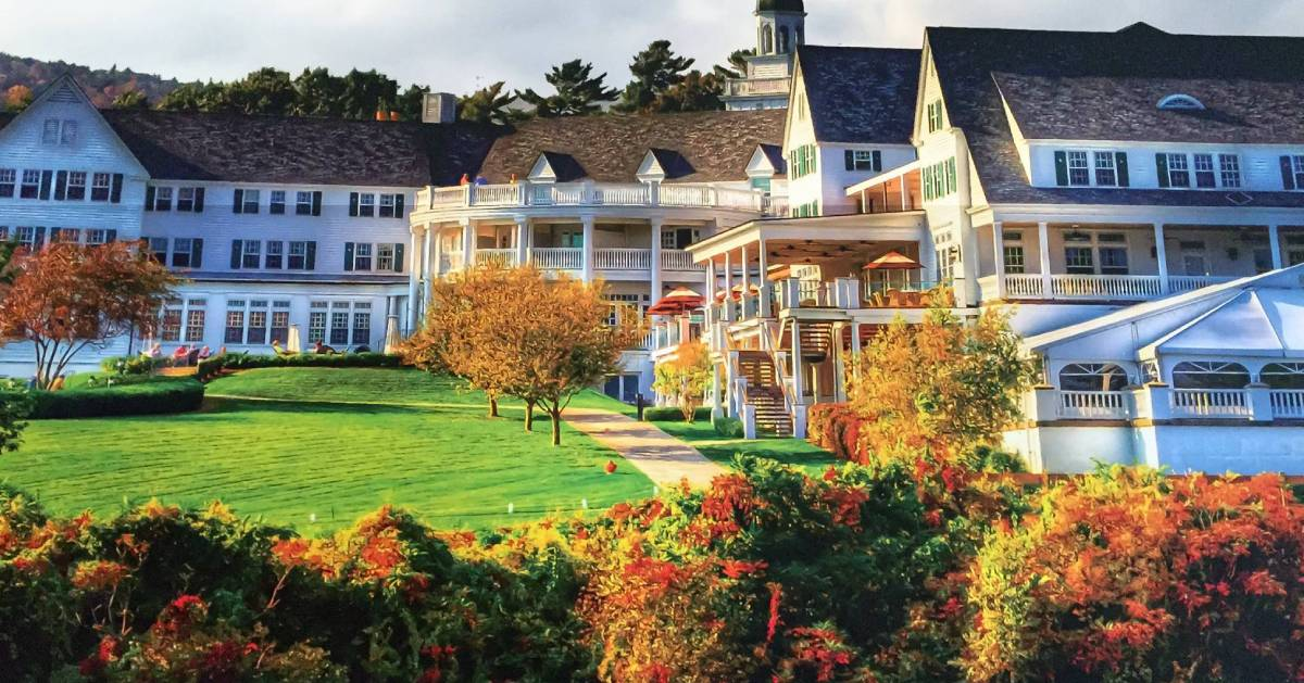 Sagamore Resort with fall foliage in the foreground