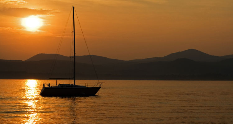 a sailboat on lake george