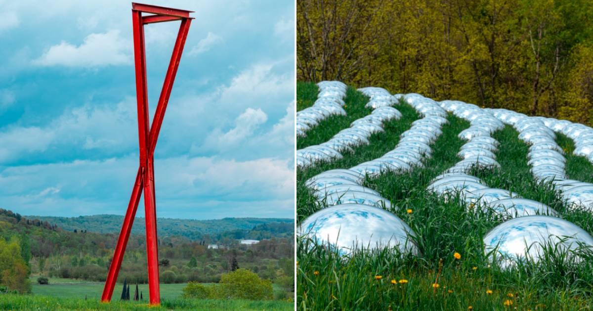 split image of sculptures in field