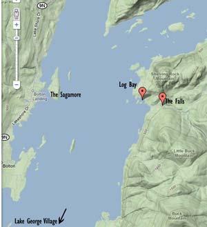 Map Of Shelving Rock Trail - Lake George, NY