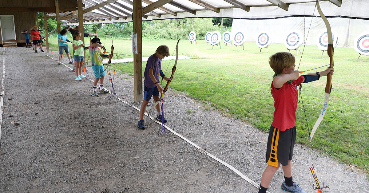 kids doing archery
