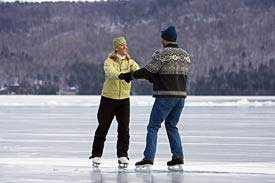 Couple Ice Skating On Lake George