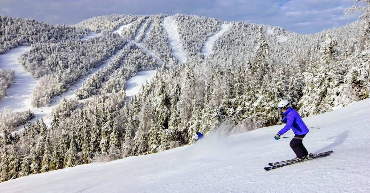 person downhill skiing wearing blue
