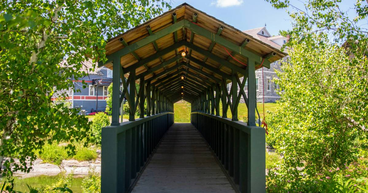 looking into a covered bridge