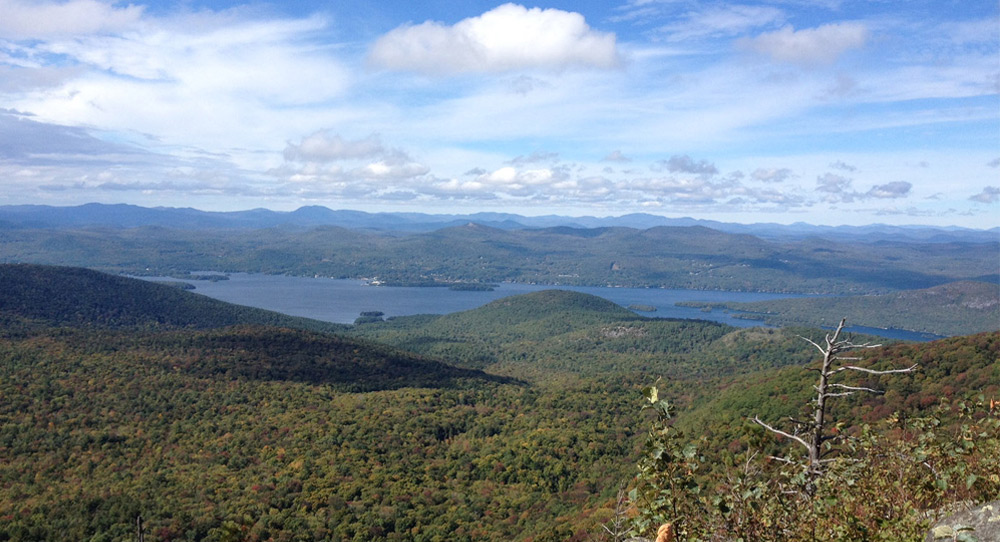 view of lake george from sleeping beauty mountain's summit