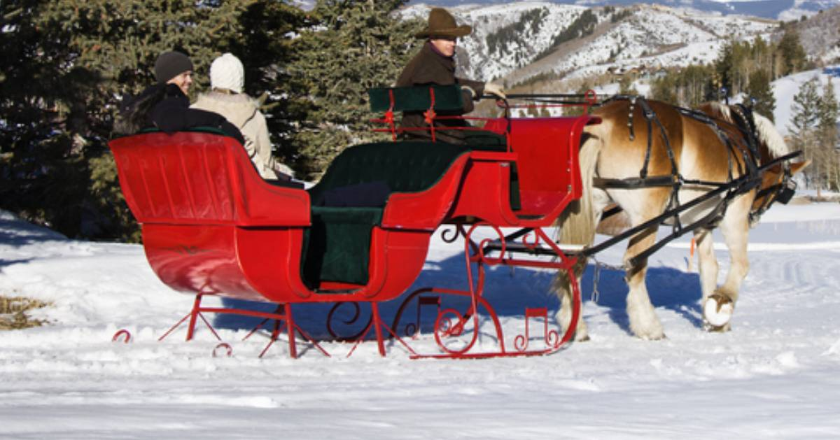 couple on a horse-drawn sleigh ride