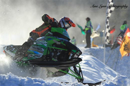 snowmobile races at the Lake George Winter Carnival