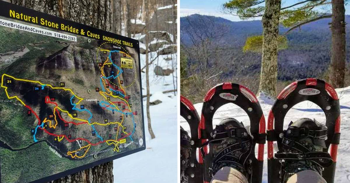 split image with map of snowshoe trails on the left and a pair of snowshoes on the right