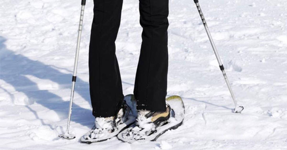person standing in snowshoes outdoors