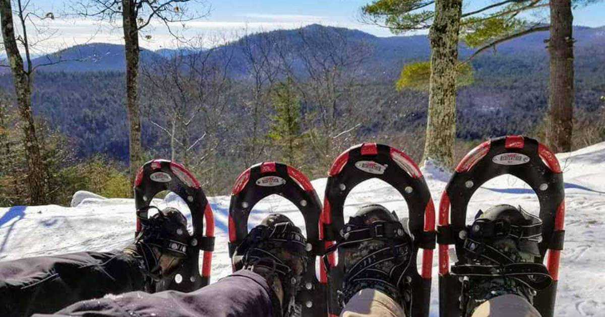 snowshoes on a summit