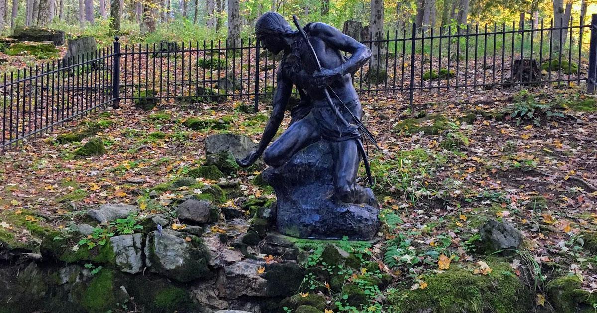 Native American statue in park