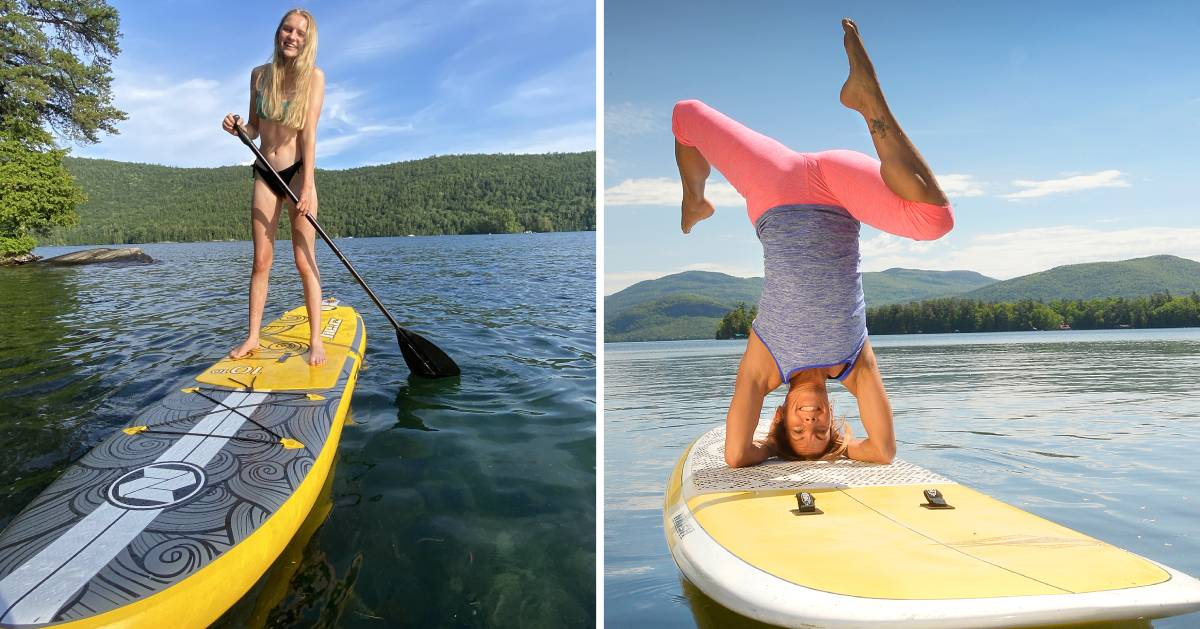 split image with a young woman standup paddleboarding on the left and a woman doing sup yoga on the right