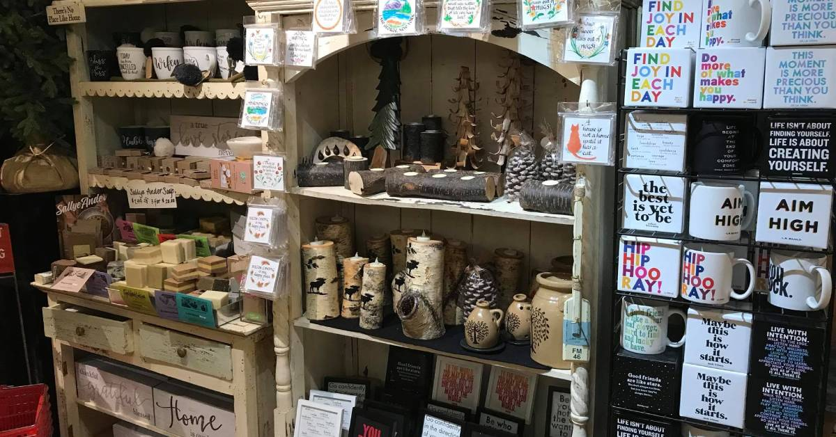 rustic decor and other products on store shelves