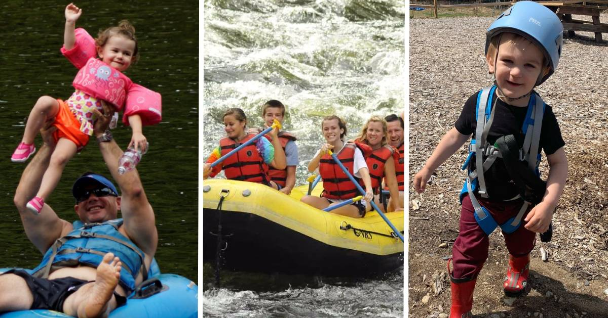 image split in three with tubing, whitewater rafting, and a kid in treetop adventure course gear