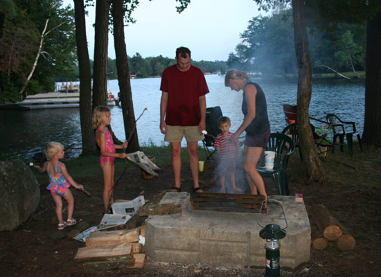 family making smores