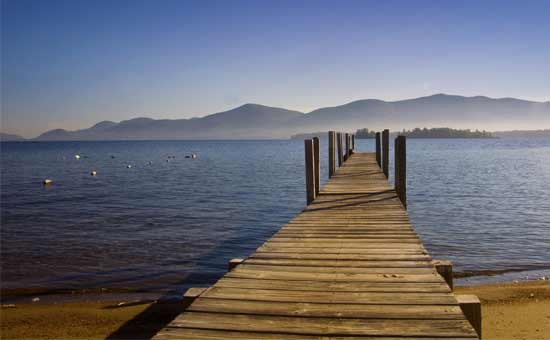 dock with mountains in background