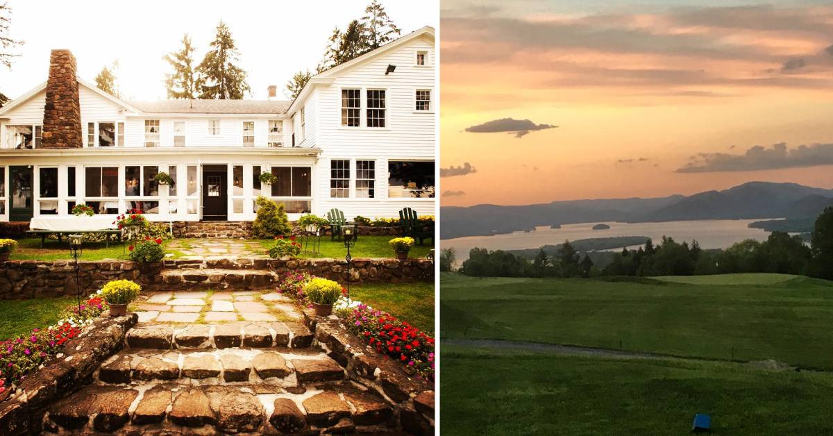 left photo of white building and right photo of golf course at sunset