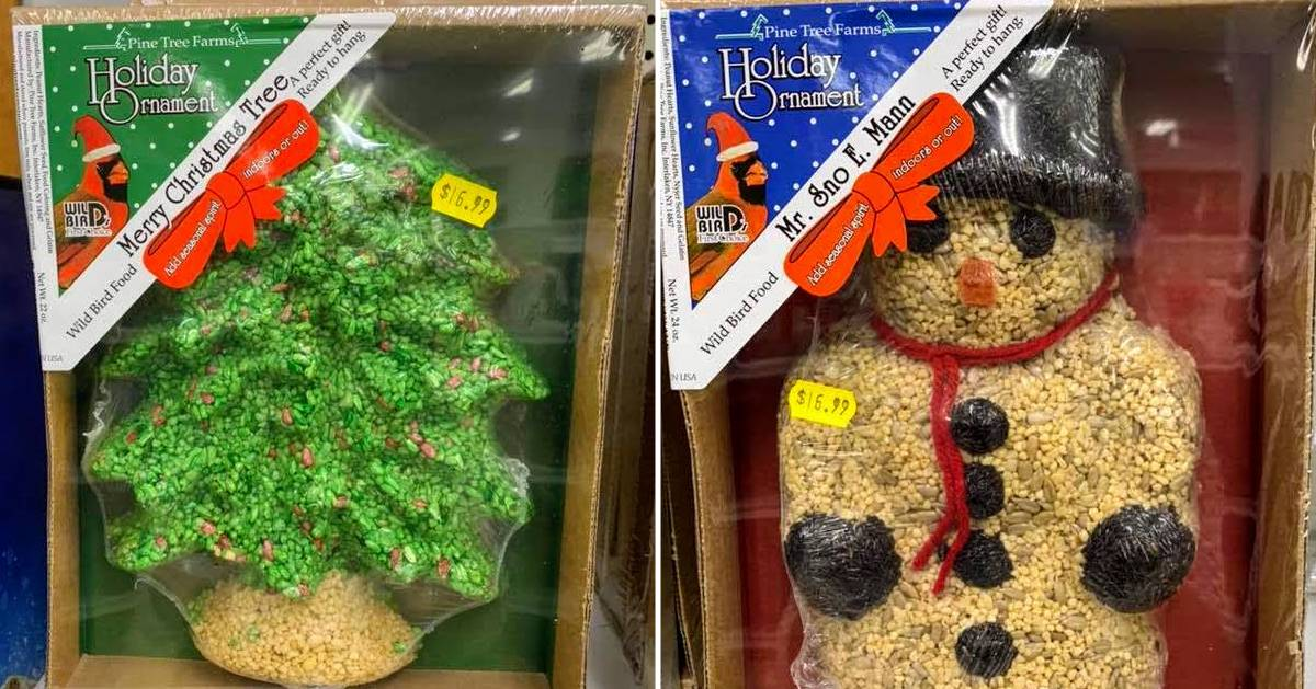 split image with Christmas tree ornament of a tree on the left and a snowman on the right