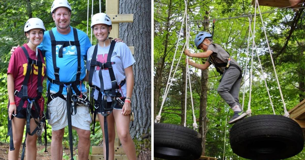 split image with dad posing with daughters with gear on on the left and kid on treetop course on the right