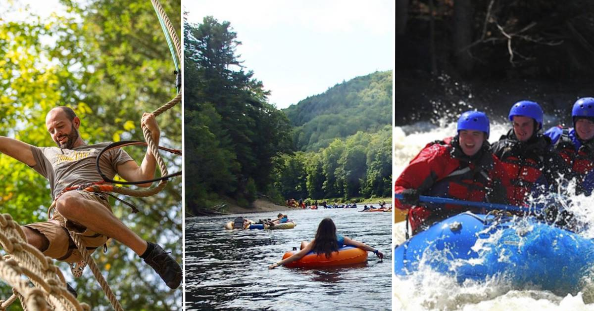 three images, of treetop climbing, lazy river tubing, and whitewater rafting