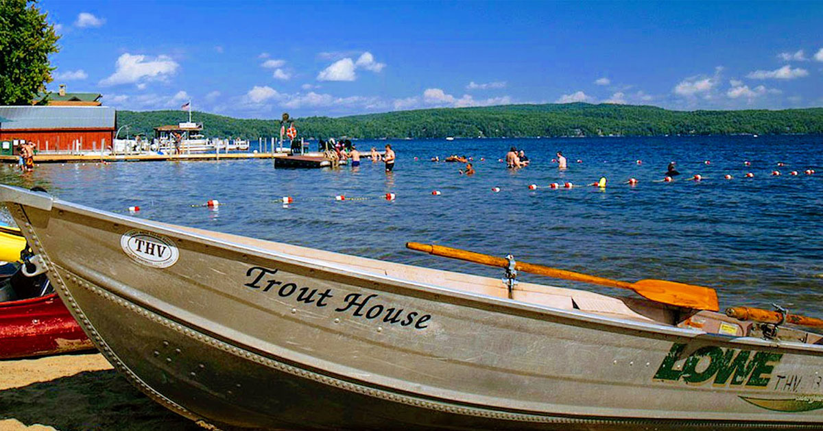 Trout House canoe by the water