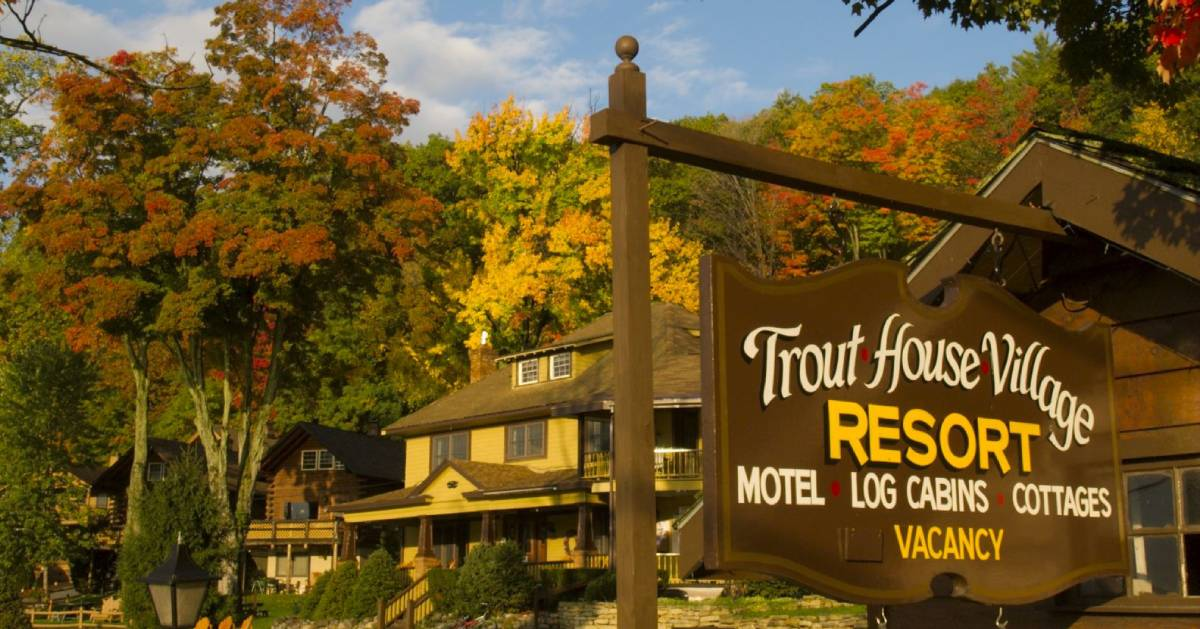 sign for Trout House in the fall