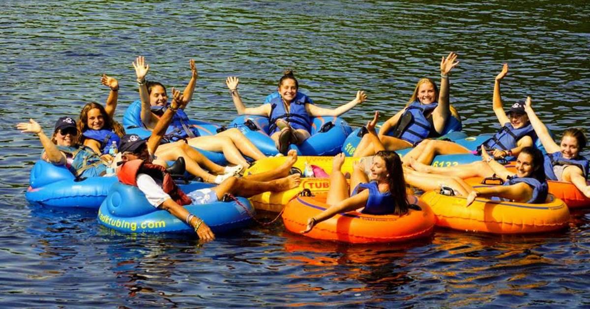 group of women tubing