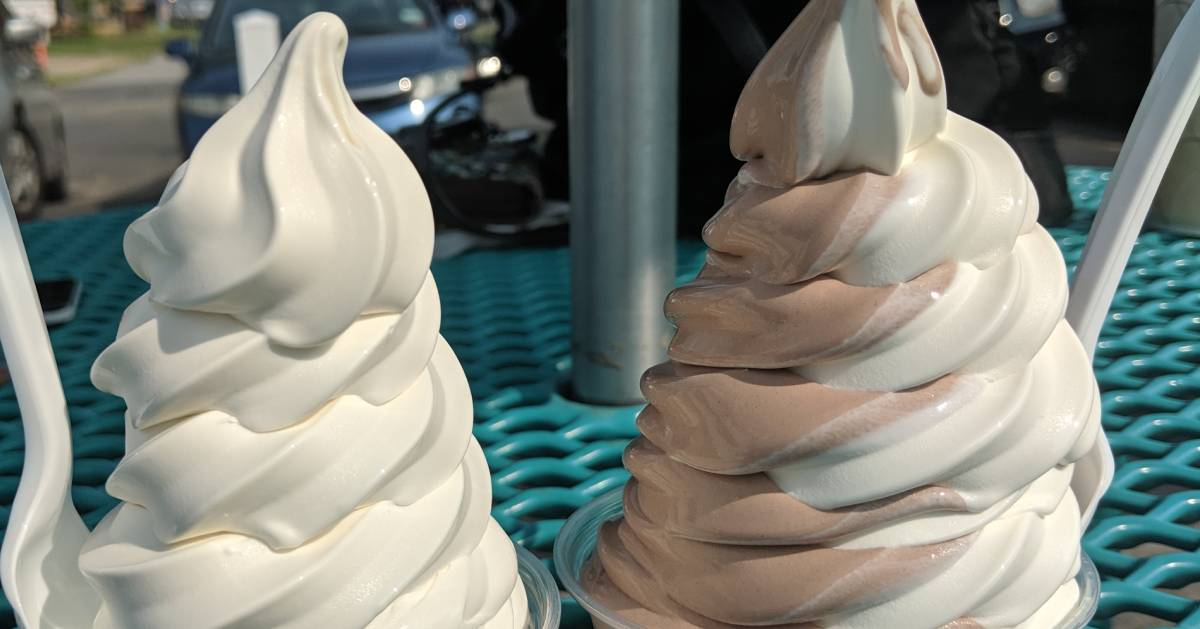 two soft serve ice cream dishes next to each other