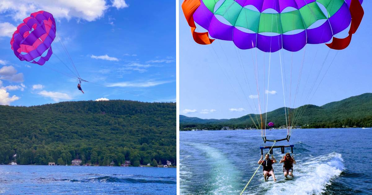 split image with man parasailing on the left and a couple parasailing on the right