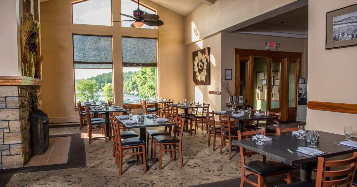 the dining room at the view at dunham's bay resort