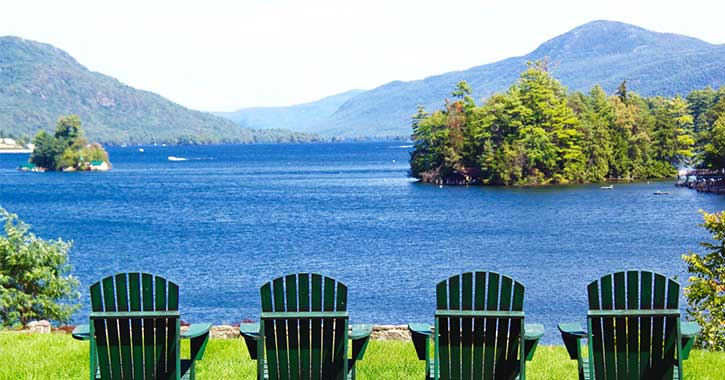 Sitting area overlooking Lake George at Melody manor