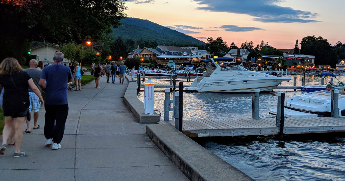 lakefront walkway at dusk