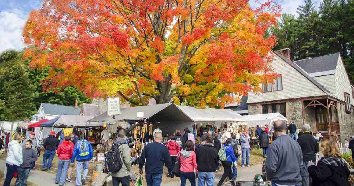 people at outdoor garage sales with fall colors on nearby tree