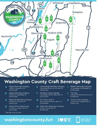a map of craft beverage producers listed in the text of the page