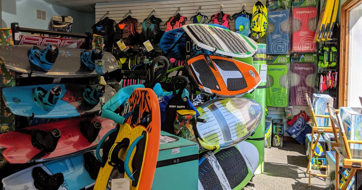 inside of watersports store